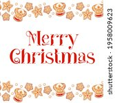 merry christmas card with... | Shutterstock .eps vector #1958009623