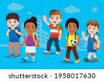 a group of students greet their ...   Shutterstock .eps vector #1958017630