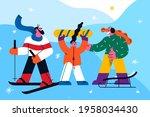 winter activities and sport... | Shutterstock .eps vector #1958034430