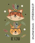 poster with tribal fox and... | Shutterstock .eps vector #1958046619