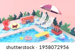 the swimming pool is surrounded ...   Shutterstock . vector #1958072956