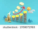 bar graph from the coin is...   Shutterstock . vector #1958072983