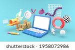 the laptop is surrounded by...   Shutterstock . vector #1958072986