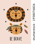 poster with tribal lion and... | Shutterstock .eps vector #1958076826