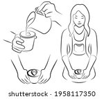 outline drawing set of barista...   Shutterstock .eps vector #1958117350
