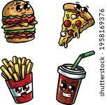 icon doodle cute fast food...   Shutterstock .eps vector #1958169376