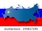 russia map on flag background | Shutterstock . vector #195817190