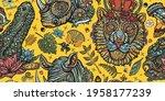 zoo background. safari in... | Shutterstock .eps vector #1958177239