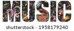 music slogan. double exposure... | Shutterstock .eps vector #1958179240