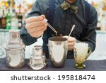 bartender is making cocktail at ... | Shutterstock . vector #195818474