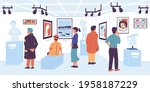 people in gallery. visitor of...   Shutterstock .eps vector #1958187229