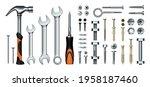 realistic mechanic tools. 3d... | Shutterstock .eps vector #1958187460
