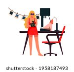 Woman With Camera Work At Home. ...