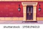 front door with stone frame in...   Shutterstock .eps vector #1958196013