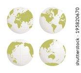 globe earth icon set on white... | Shutterstock .eps vector #195820670