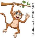cute monkey hanging on a tree... | Shutterstock .eps vector #1958216329