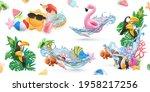 summer creative icon set. 3d... | Shutterstock .eps vector #1958217256