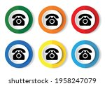 telephone vector icon set  flat ... | Shutterstock .eps vector #1958247079