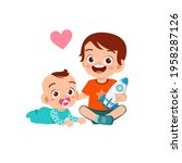 cute little girl play with baby ... | Shutterstock .eps vector #1958287126
