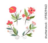 set of botanical graphic... | Shutterstock .eps vector #195829463