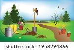 gardening tools   boots  a...   Shutterstock .eps vector #1958294866
