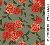 pretty painted bunches of roses ... | Shutterstock .eps vector #1958313286