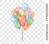 balloons 3d bunch set  isolated ...   Shutterstock .eps vector #1958320060