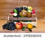 Assortment Of Fruits In Wooden...