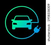 electric car with plug icon... | Shutterstock .eps vector #1958338309