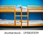 Stock photo hostel room with city view color room bright interior 195835559