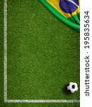 Soccer Field With Ball And Fla...