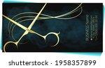 scissors and golden curl of... | Shutterstock .eps vector #1958357899