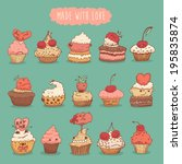 sweet cupcakes set illustration ... | Shutterstock .eps vector #195835874