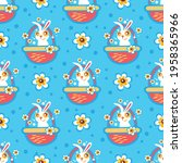 easter bunny and flowers on... | Shutterstock .eps vector #1958365966