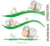 Sheep Cartoon Set On Meadow...