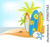 summer background with surboard ... | Shutterstock .eps vector #195837563
