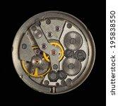 an old clockwork on a black... | Shutterstock . vector #195838550