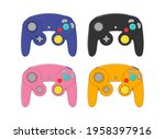set of four colored gamepads....   Shutterstock .eps vector #1958397916