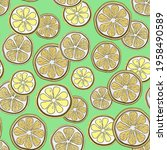 summer pattern with lemon and... | Shutterstock .eps vector #1958490589