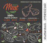 pieces of raw meat set. meat... | Shutterstock .eps vector #1958532160