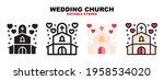 wedding church icon set with...