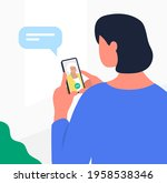 adult daughter talking with mom....   Shutterstock .eps vector #1958538346