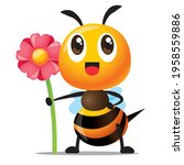 cartoon cute bee with smile... | Shutterstock .eps vector #1958559886