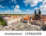 old town square in prague ... | Shutterstock . vector #195860408