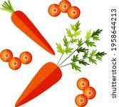 flat style of carrots set for... | Shutterstock .eps vector #1958644213