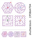 Four simple mazes of various shapes. Answers included.