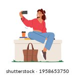 young woman character posing... | Shutterstock .eps vector #1958653750