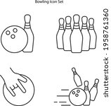 bowling icon set isolated on...