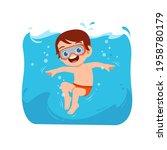 cute little kid boy swim under... | Shutterstock .eps vector #1958780179