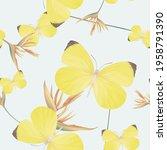 animal seamless pattern  eurema ... | Shutterstock .eps vector #1958791390